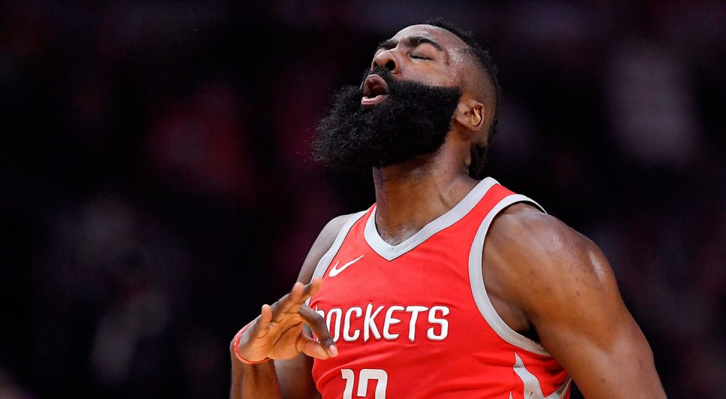 638851364 Houston Rockets guard James Harden celebrates after hitting a 3-point shot.  (Mark J. Terrill AP)