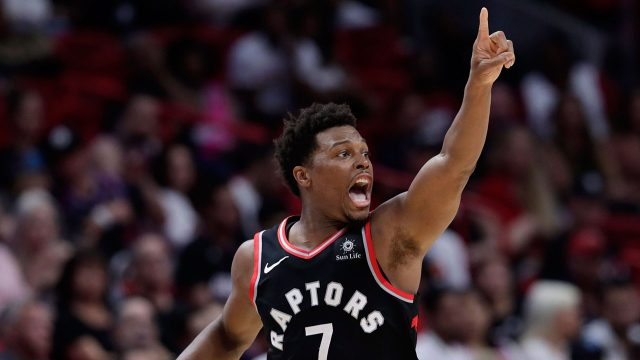 NBA-Raptors-Lowry-reacts-after-shot-is-made