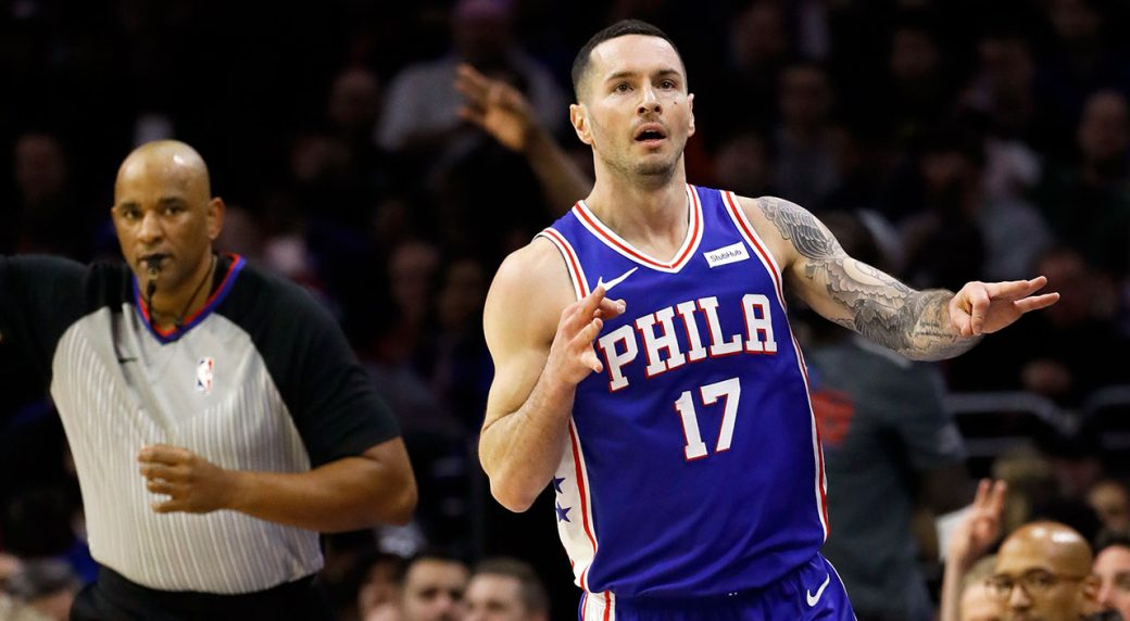 8516be483a12 Philadelphia 76ers  JJ Redick reacts after making a shot against the  Orlando Magic. (Matt Slocum AP)