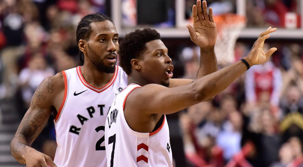 4aeb947d4db1 Toronto Raptors forward Kawhi Leonard (2) and Toronto Raptors guard Kyle  Lowry (7)