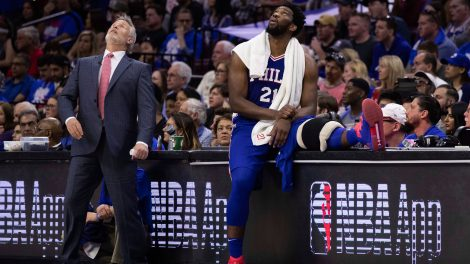 8228cd751f0 76ers  Johnson seen showing phone to Embiid in Game 1 blowout to Nets ...