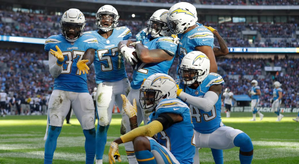 e9f6bc372 The Los Angeles Chargers will wear their historic powder-blue jerseys as  their primary home uniforms in the upcoming season. (Matt Dunham/AP)