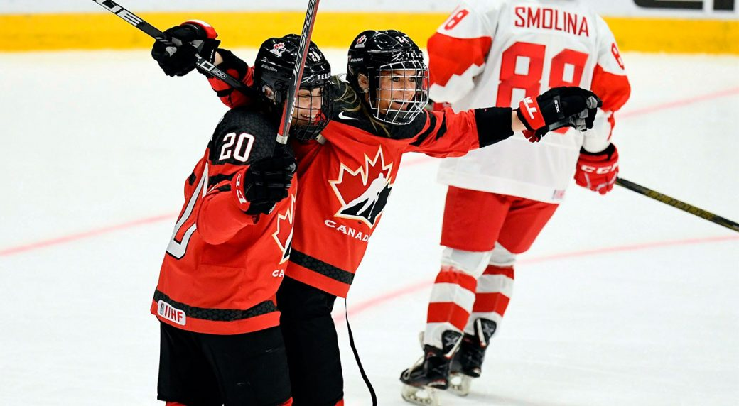 the best attitude 9875f 179b3 Spooner scores hat trick as Canada beats Russia at world championship