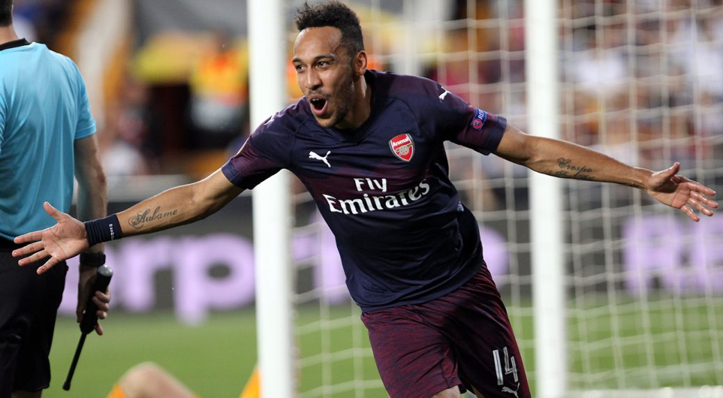 fc292a5a660 Arsenal forward Pierre-Emerick Aubameyang celebrates after scoring his  side s third goal during the Europa League semifinal soccer match