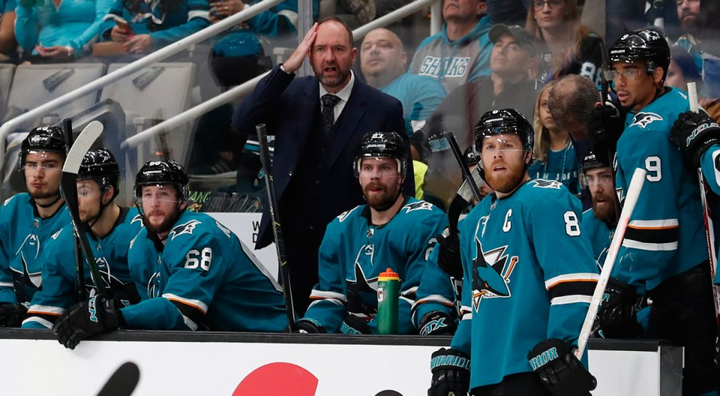 6b1f24ef2b4 San Jose Sharks head coach Peter DeBoer reacts behind the bench during the  first period in Game 5 of the NHL hockey Stanley Cup Western Conference  finals ...
