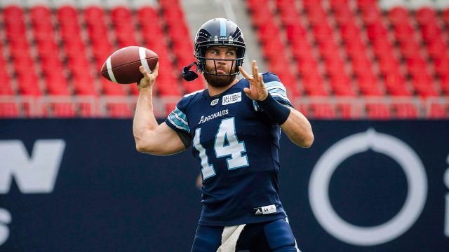 CFL-Argonauts-Bethel-Thompson-practices-throwing