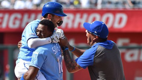 MLB-Royals-Merrifield-congratulated-by-Soler-after-walk-off-hit