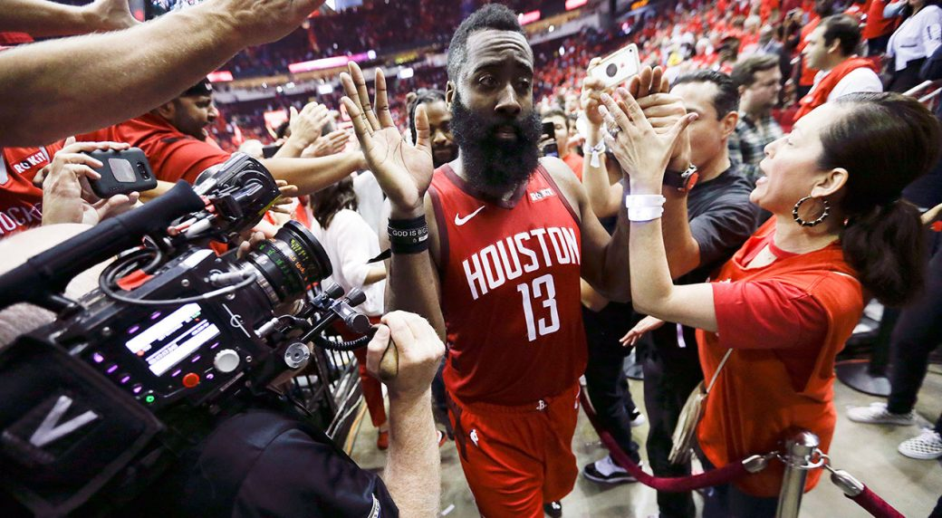 aada54e40dbc Houston Rockets guard James Harden (13) walks off the court after the  team s overtime win. (Eric Christian Smith AP)