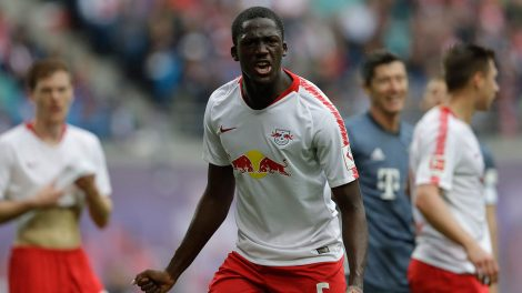 Soccer-Leipzig-Konate-reacts-during-match-against-Bayern