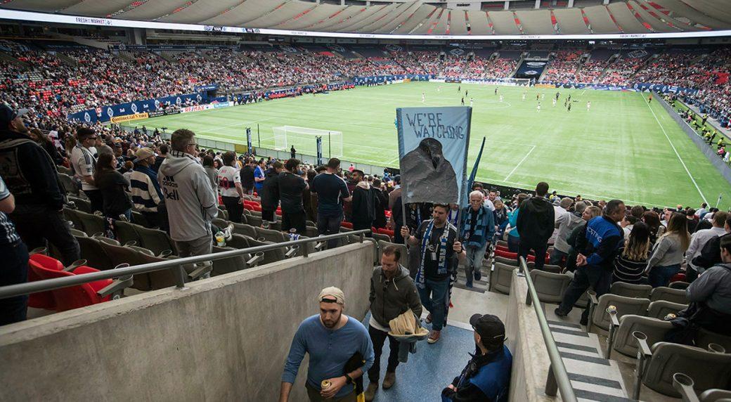 Soccer-MLS-Whitecaps-fans-leave-seats