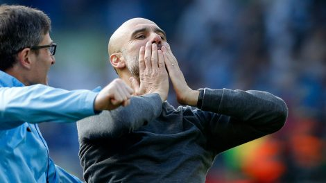 Soccer-Man-City-Pep-Guardiola-celebrates-Premier-League-title-win