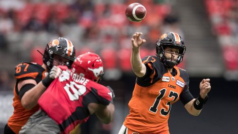 CFL-Lions-Reilly-passes-against-Stampeders