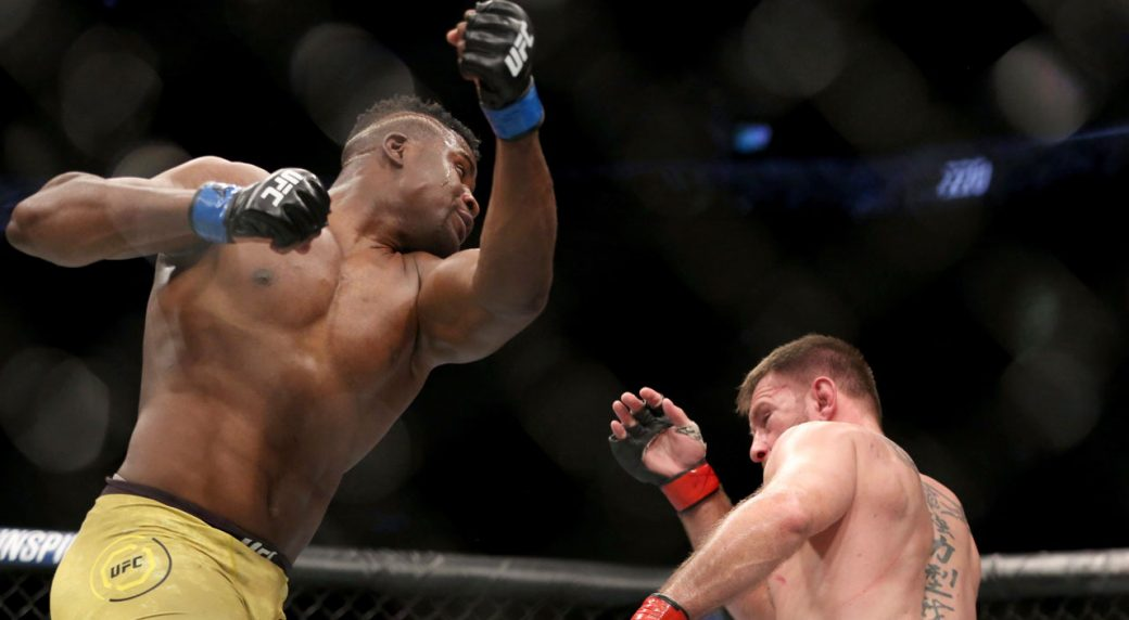 Ngannou routs dos Santos in first-round TKO
